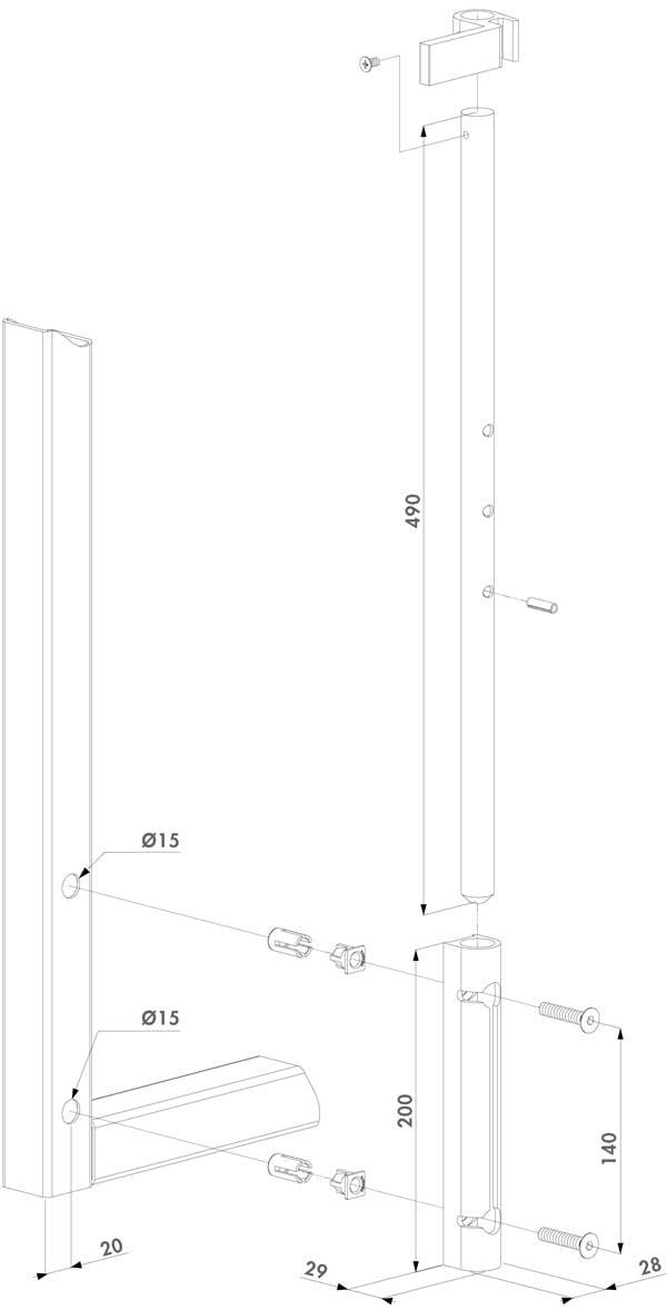 Plan de la béquille pour portail Fortinet, Zenturo ou Bekafor