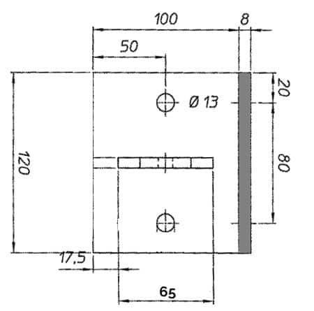 Plan Platine en L pour poteaux Bekafix