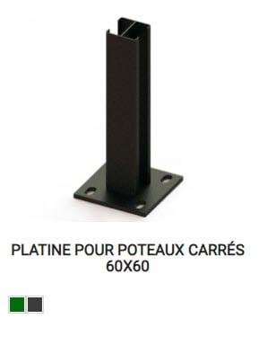 Platine pour poteaux carrés de cloture