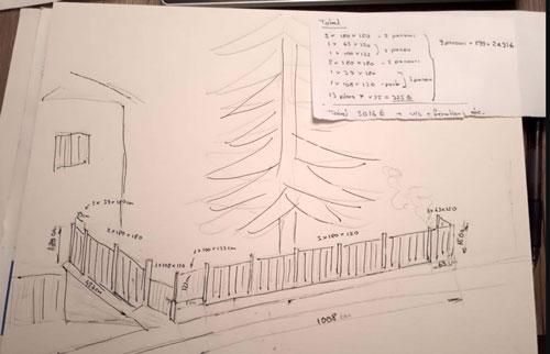 Calpinage d'une clôture par un particulier